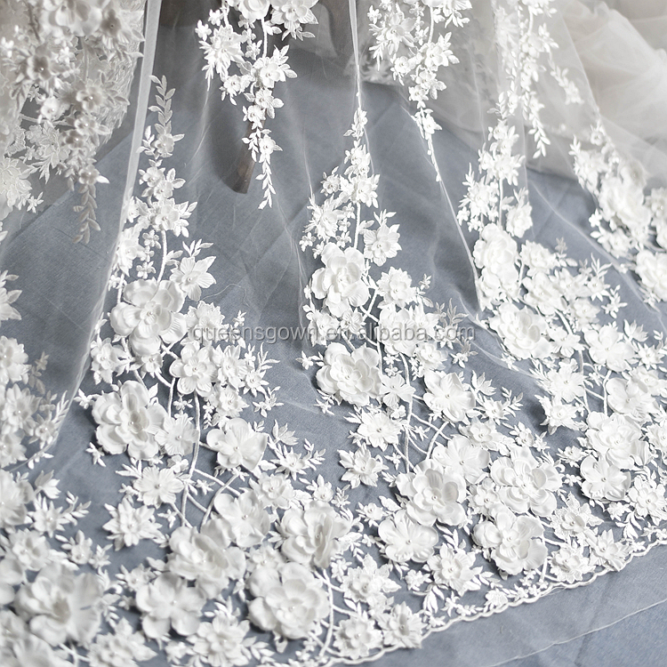 Wedding Dress Fabric.Elegant Design Bridal Lace Fabric 3d For Wedding Tulle Fabric With Pearls French Lace Wedding Dress Fabric Buy French Lace Wedding Dress