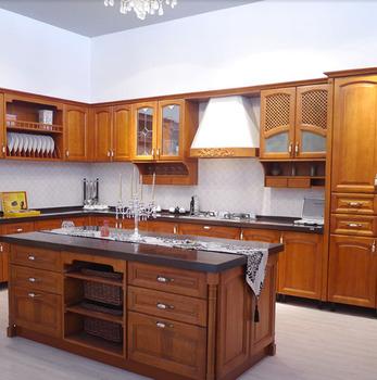 Cherry Walnut Oak Solid Wood Kitchen Cabinets Marble Granite
