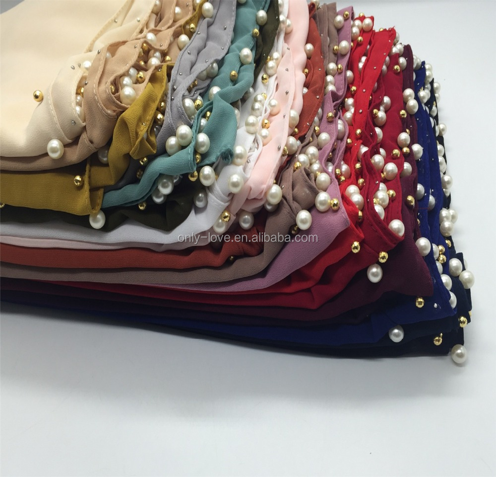 2018 chiffon pearls women shawl hijab new designs pearls chiffon long scarf hijab QK087