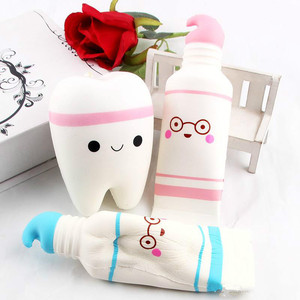 Mskwee Stress relief Squeeze Toy jumbo Soft kawaii Toothpaste tooth set squishy slow rising toys