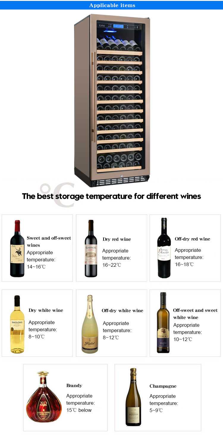 LVNI hot sale 120 bottles humidity control golden stainless steel glass door display wine fridge cooler cellar with purple led