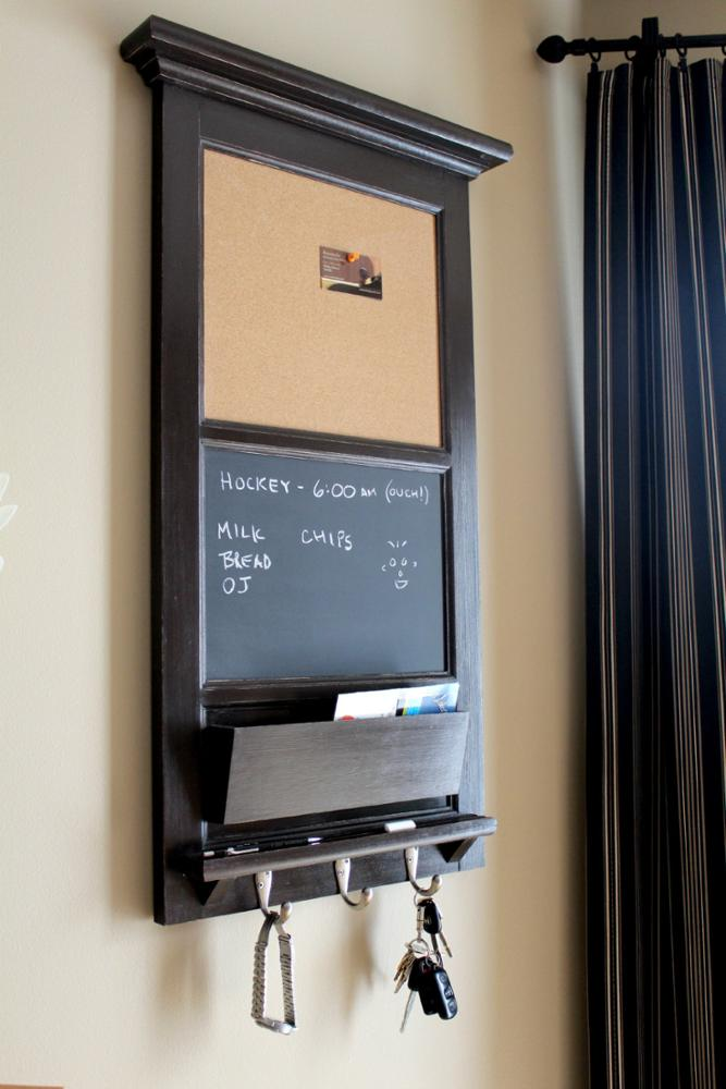 Vertical Wall Chalkboard Cork Bulletin Board With Mail