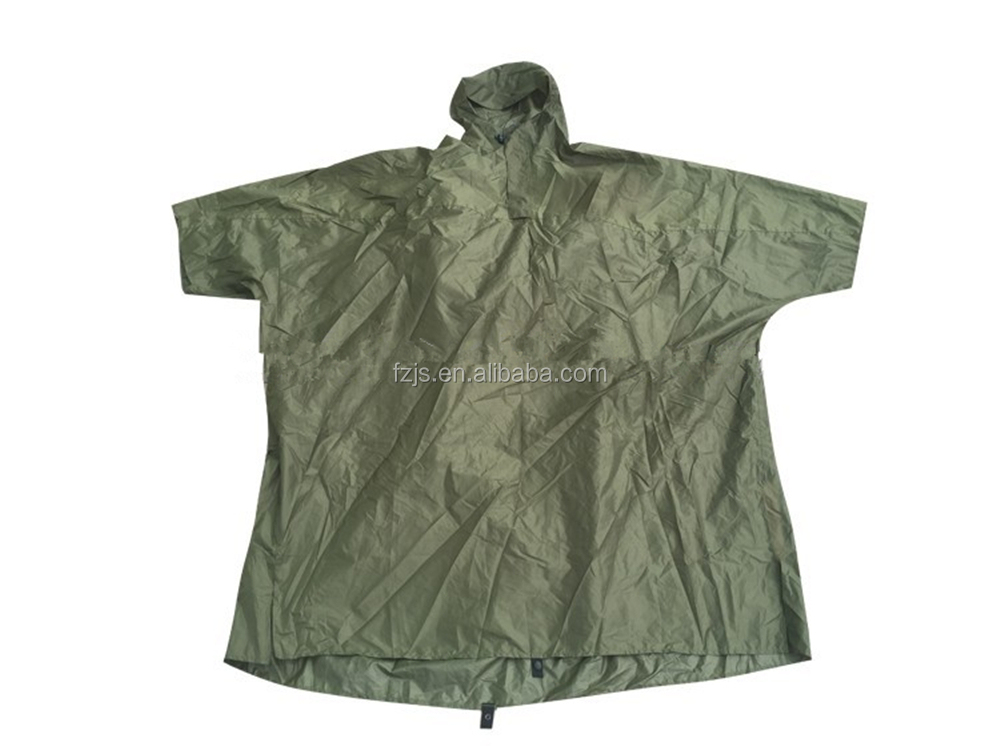 Waterproof polyester type pvc coated motorcycle green rain poncho