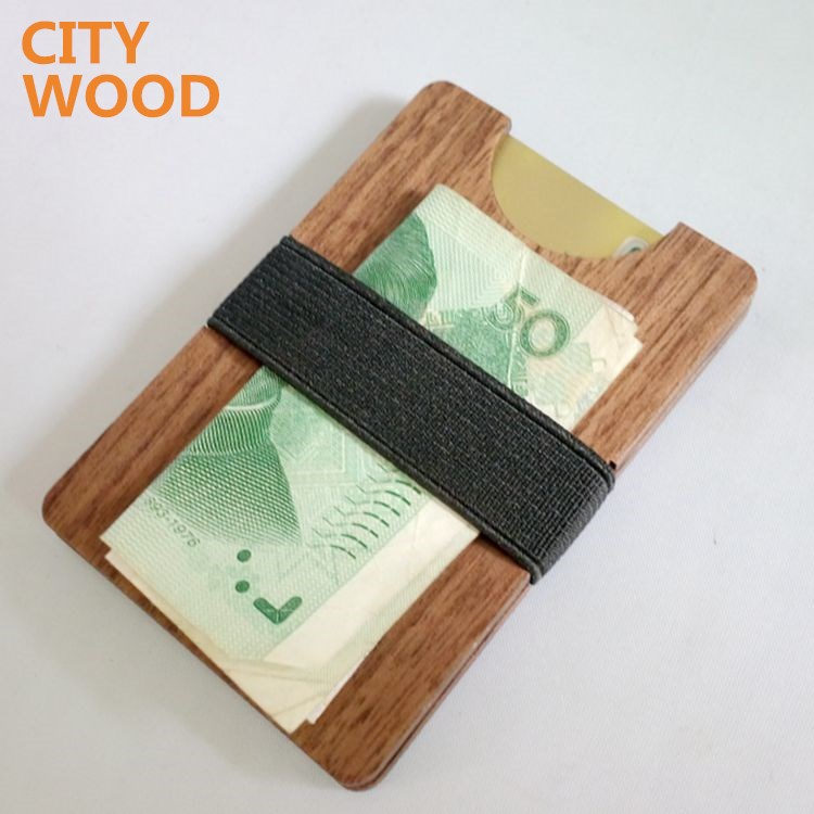 wholesale promotion real wood pocket wallet for men