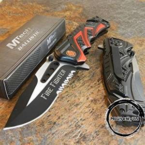 MOON KNIVES MTech BALLISTIC Assisted Opening Rescue FIRE FIGHTER DEPT BLACK RESCUE Knife NEW