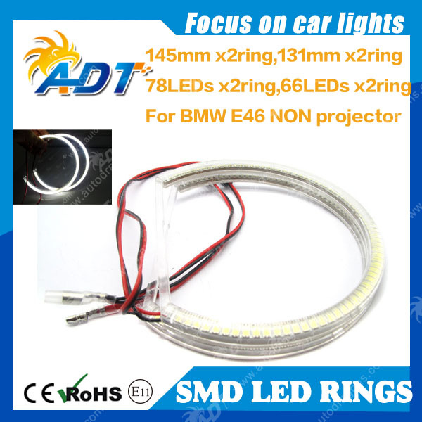 6000K Xenon White 145mm 131mm Semi ring Halo Ring LED Ring Headlight for BMW E36 E38 E39 E46 without projector 78SMD 66SMD