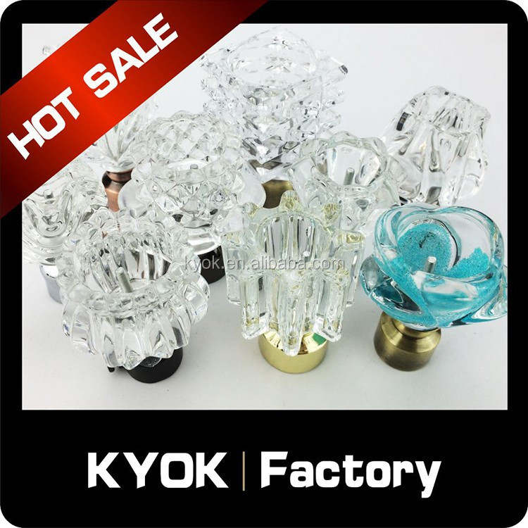 KYOK Crystal Items!! European Luxury Cutain Rod Finals, Wrought Iron Curtain Rods Factory, Home Decor Curtain Accessories
