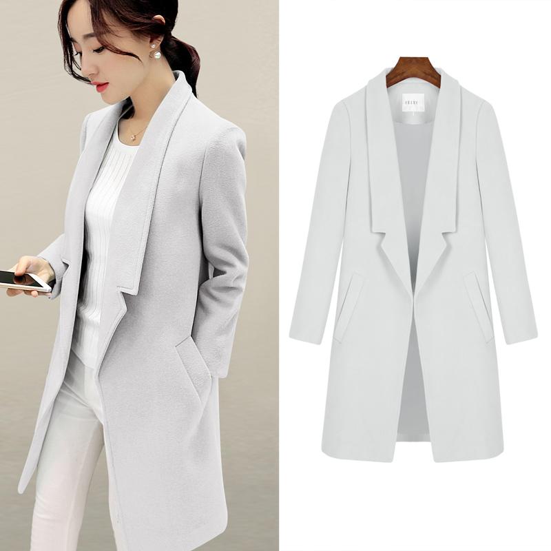 2016 Autumn font b Winter b font New Women Korean Woolen Coat Fashion Slim Medium long