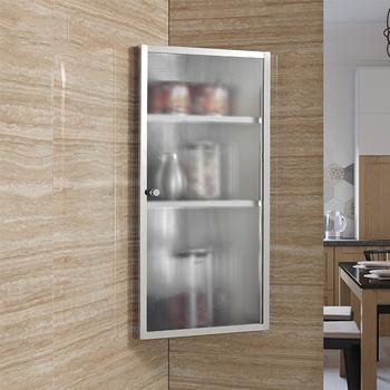 Stainless Steel Bathroom Kitchen Storage Corner Cabinet Cupboard 3 Layer Matte Gl