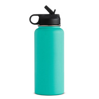 18/8 Stainless Steel Wide Mouth Thermos 32oz 18oz 24oz Powder Coated Water Vacuum Flask With Different Cap Heat Sublimation Bla