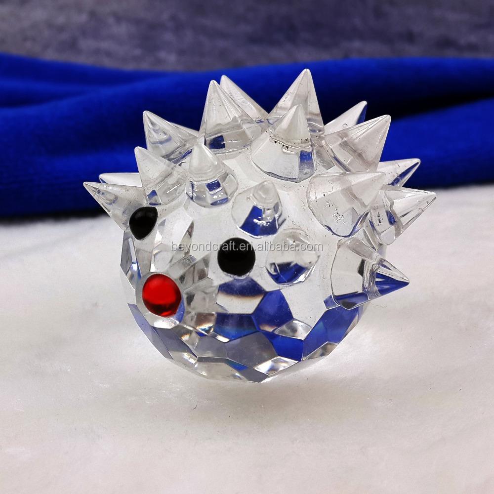Glas Kristall Igel Figuren Briefbeschwerer Handwerk Tisch Souvenir