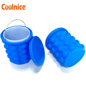 Amazon Hot Selling Custom Colorful Silicone Ice Cube Maker Genie Ice Tray Bucket with Lid