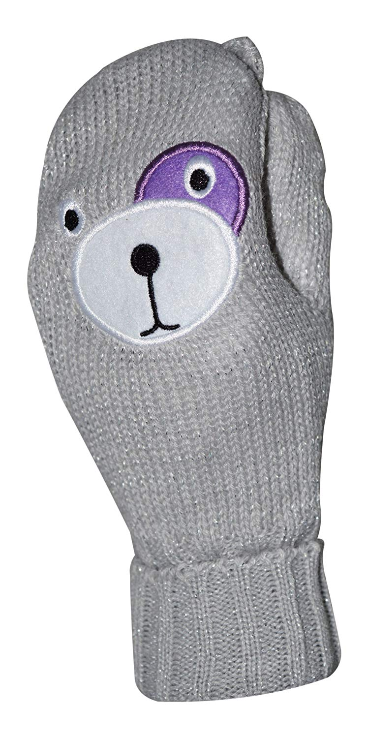 1b81a2aa94d Get Quotations · Octave Girls Knitted Teddy Bear Face Mittens With Lurex  For Sparkle! - Gray