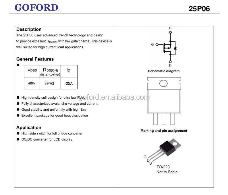 transistor semiconductor 25P06 -60V -25A TO-220 P channel enhancement  mosfet manufacturer, View transistor semiconductor TO220, GOFORD Product  Details