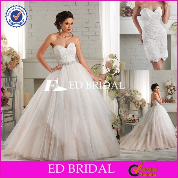 BY10 Two Pieces Detachable Skirt Sweetheart Lace Wedding And Evening Dress