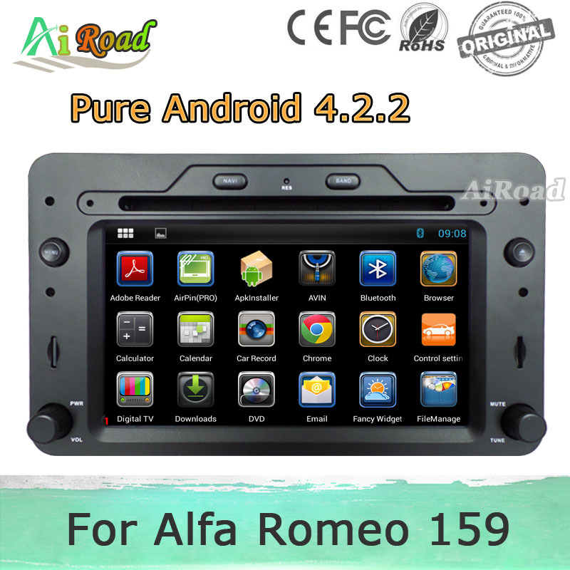 pure android 4 2 2 car dvd for alfa romeo 159 sportwagon spider brera gps navigator stereo radio. Black Bedroom Furniture Sets. Home Design Ideas