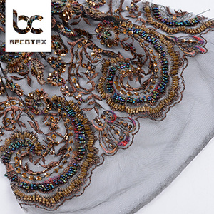 Fashion design Custom Multi color bead embroidery net lace dress making fabric