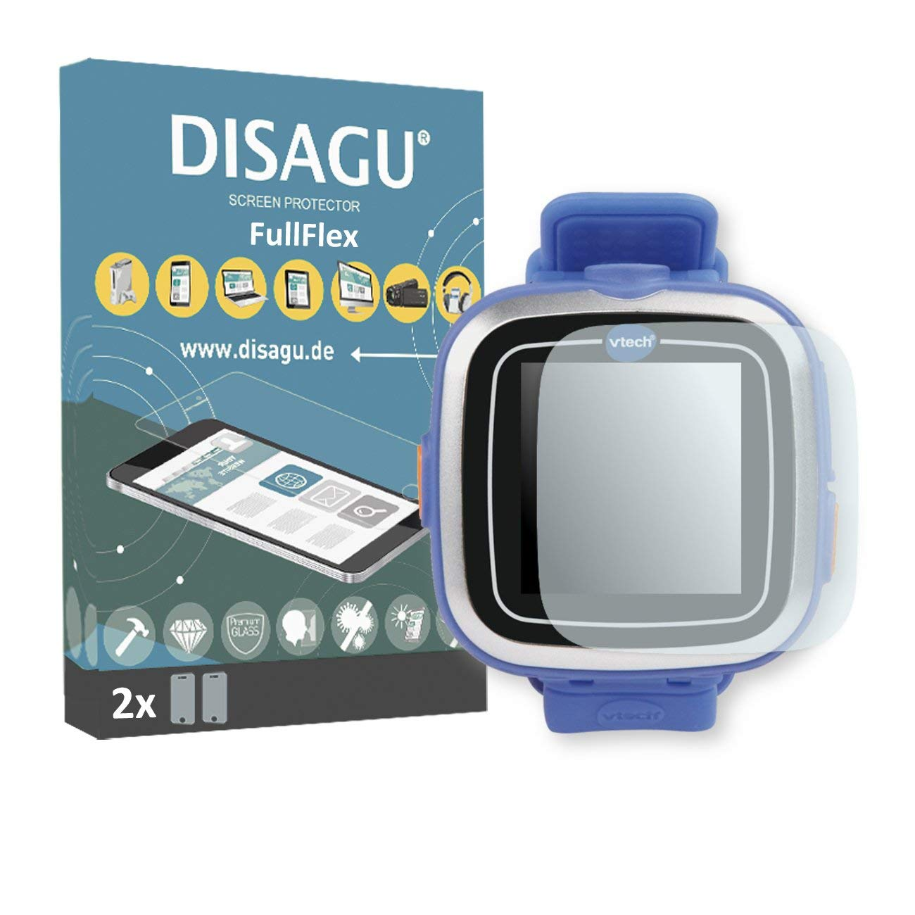 DISAGU 2 x FullFlex screen protector for Vtech Kidizoom Smart Watch 1 foil screen protector