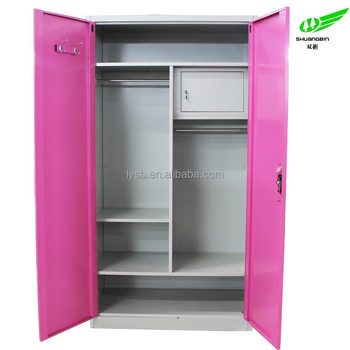 2 Door Metal Bedroom Furniture Cheap Clothes Cabinet Locking Clothing  Cabinet Customizedmetal Locker Wardrobe Closet Cabinet