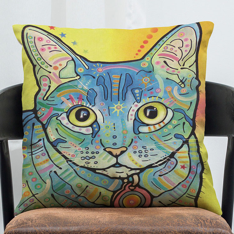 Classical Square Cat Pattern Printing Linen Pillow Case