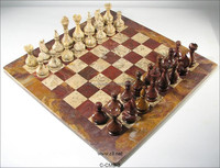 Red Onyx and Coral Marble Chess Board