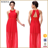 Shine Red Silk Chiffon Roung Neck Lady Long Maxi Dress