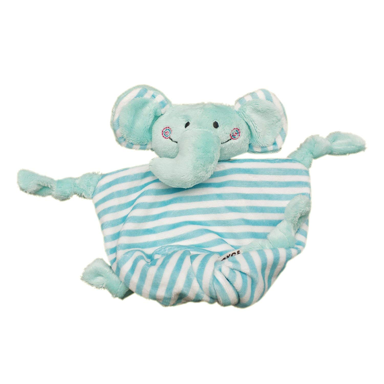 "Inchant Baby Security Blankie, Lovey Soother Security Blanket Stuffed Animal Plush Blanket 7.5"" x 6.7"" Comforter Blanket For Baby Infant (Blue Elephant)"