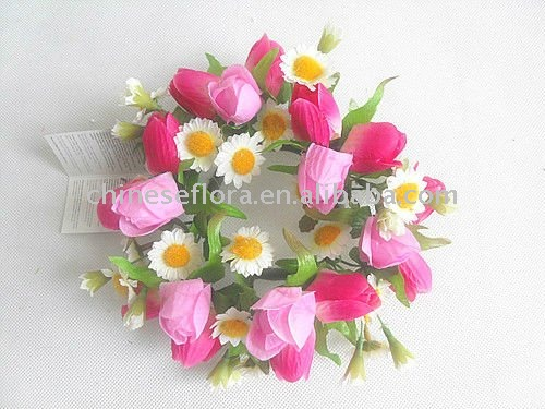 artificial flower candle ring, silk tulip and daisy flower mixed candle ring , artifi