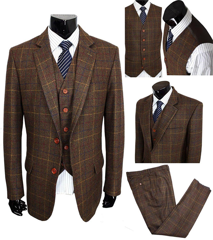 28527c22b7a Get Quotations · Yunjia Classic Vintage Brown Tweed Herringbone Wool Blend Men  Suit 3 Pieces Check Plaid Dark Green
