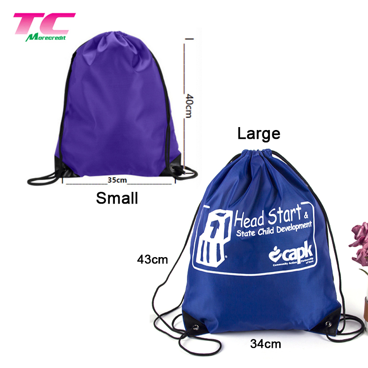 New Trend Eco-friendly Drawstring Bag Custom Brand Natural Cotton Backpack Draw String Bag Directly Factory