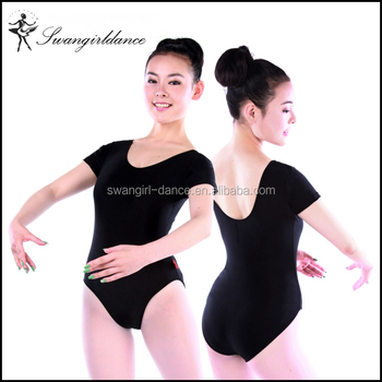 d5e1a1d70f2a Shiny Lycra Short Sleeve Basic Training Gymnastic Ballet Dance ...