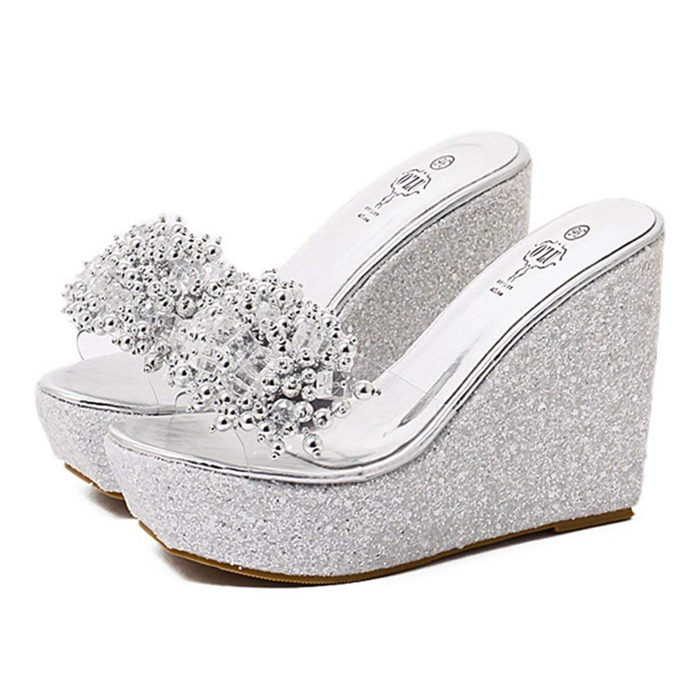4f2fa7279d8a Get Quotations · CYBLING Women Fashion Beaded Open Toe High Platform Wedge  Sandals Thick Bottom Slipper Shoes