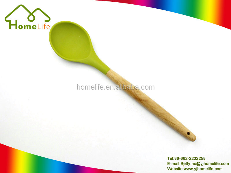 Good Quality kitchen cooking tools silicone utensils Solid Spoon with wooden handle
