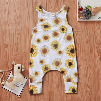 Cute Printed Sleeveless Newborn Baby Girl Rompers Kids Jumpsuit Clothing Girls summer sunflower Floral