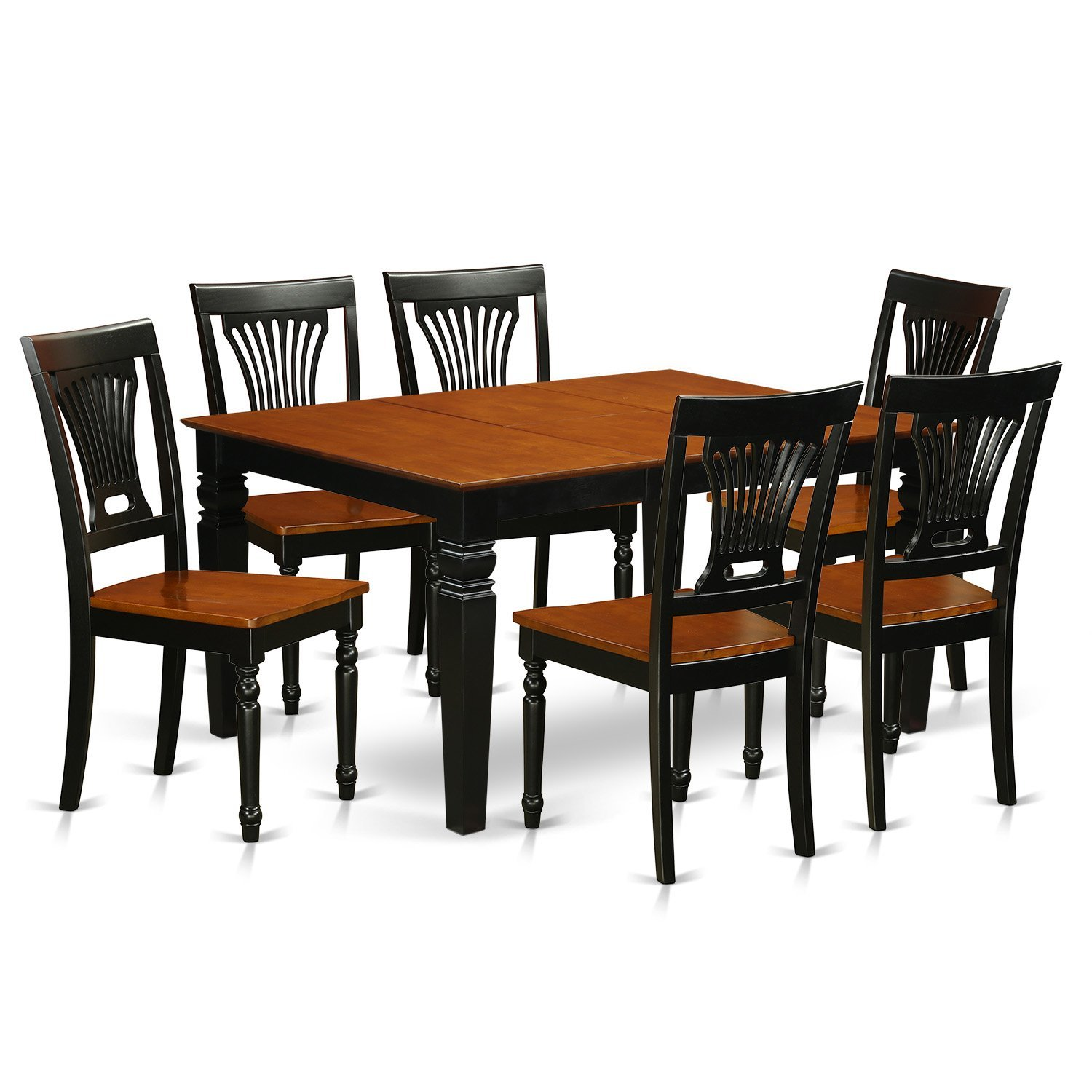 East West Furniture Weston WEPL7-BCH-W 7 Pc Room Set with a Dining Table and 6 Wood Kitchen Chairs, Black