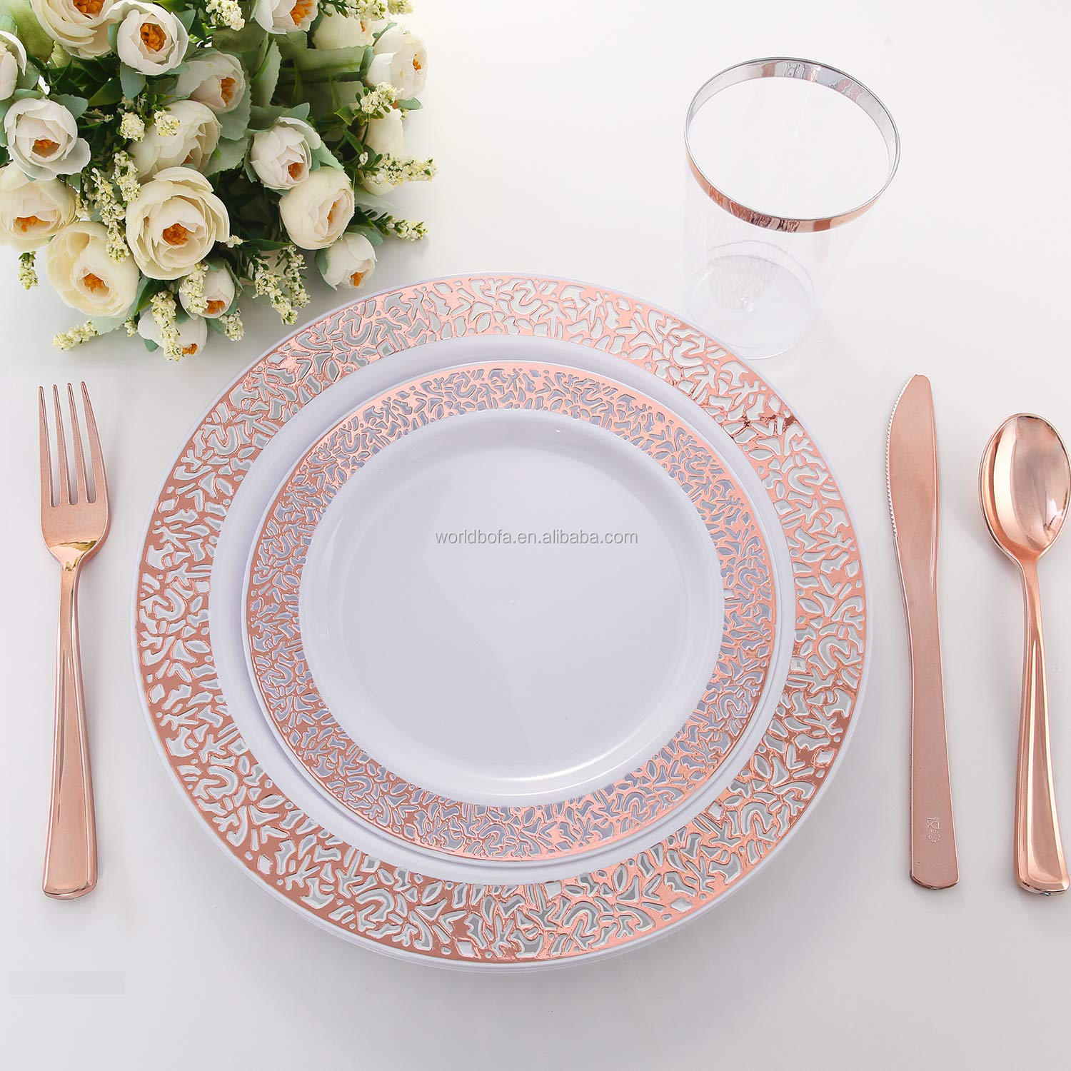 Rose Gold Charger Plates Plastic Lace Plates for Party