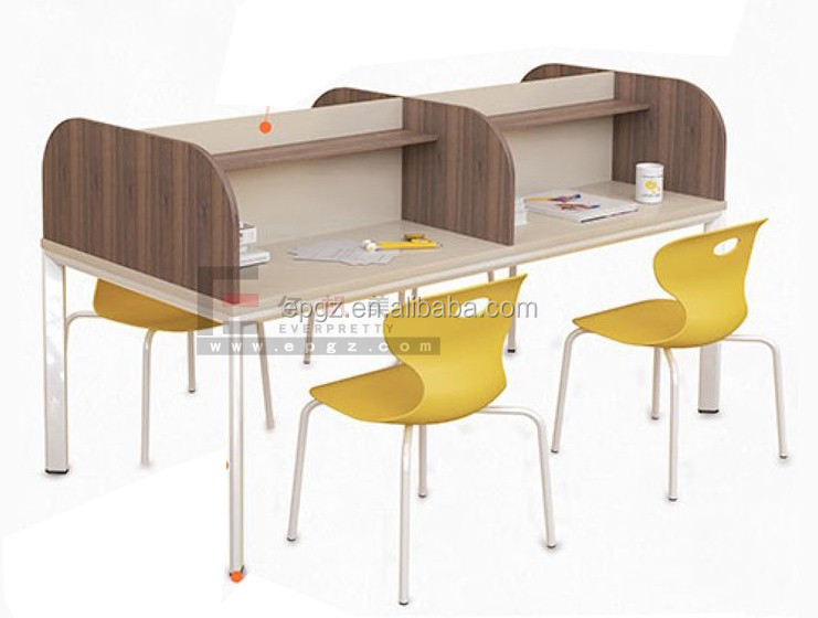 High Quality Library Furniture Wooden Material Reading Table And Chair