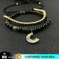 Persian Striped Agate with 14k Inlaid CZ Charms Moon Beads Bracelet for Women