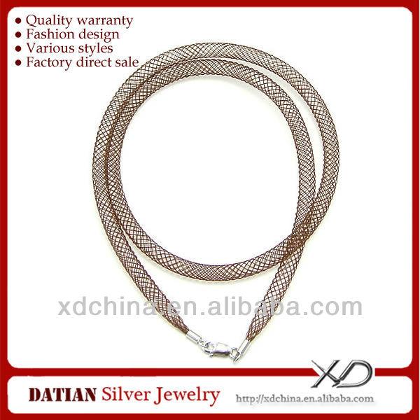 XD MF026 4mm coloreado neto cordones de cuero con plata esterlina ...