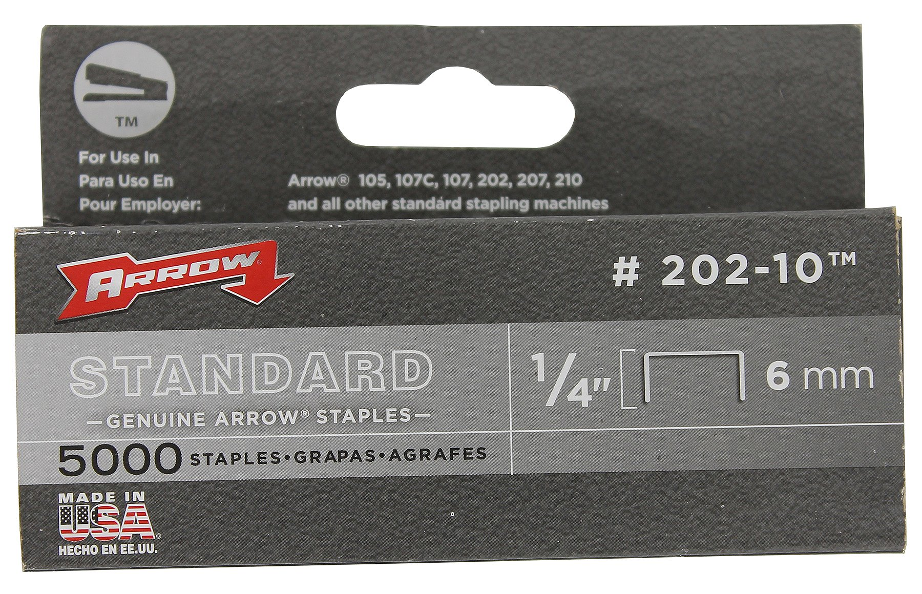 Arrow Fastener 202-10 Genuine 1/4-Inch 6mm Standard Staples, 5,000-Pack