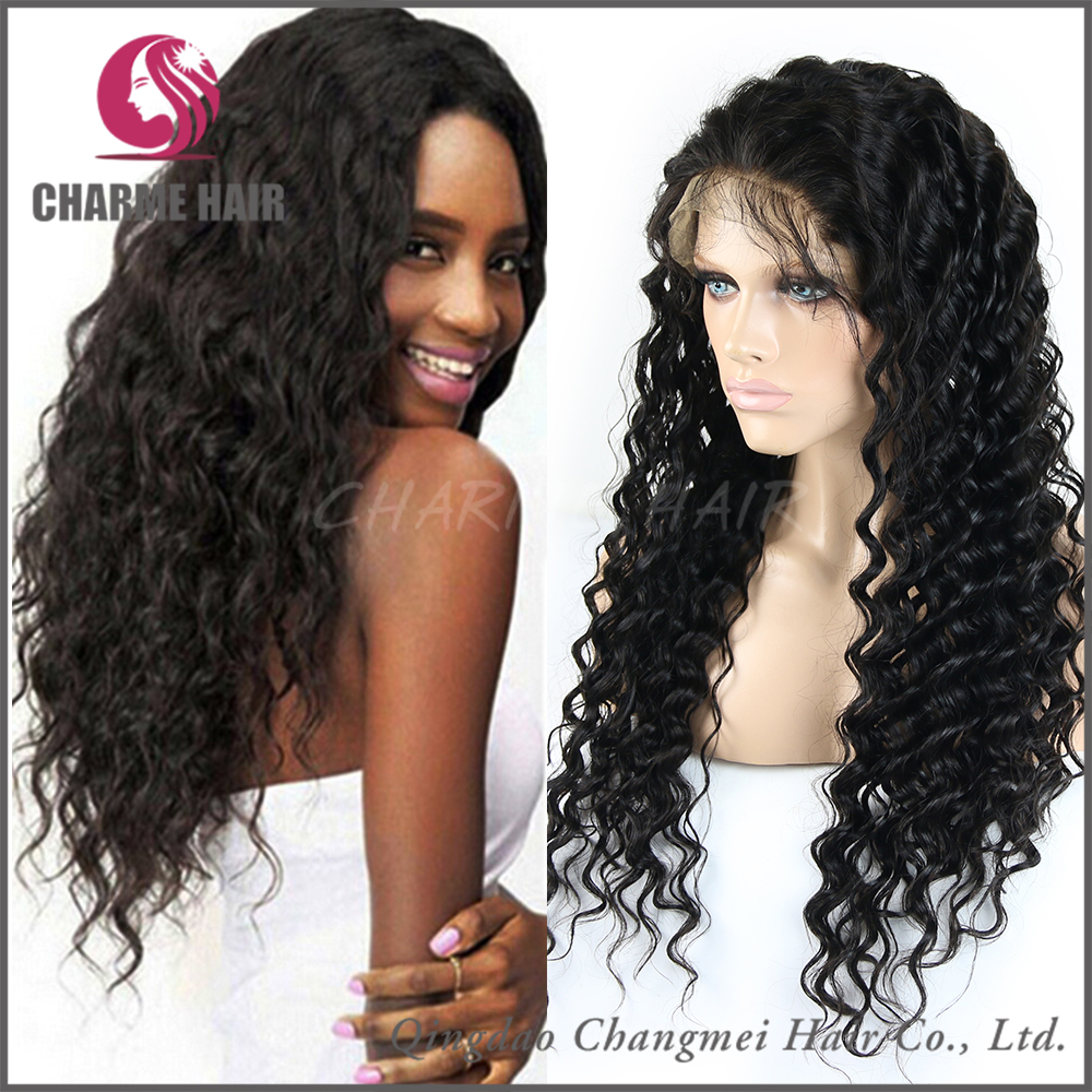 Finest Quality Cheap Indian Water Wave human hair Full Lace Wigs