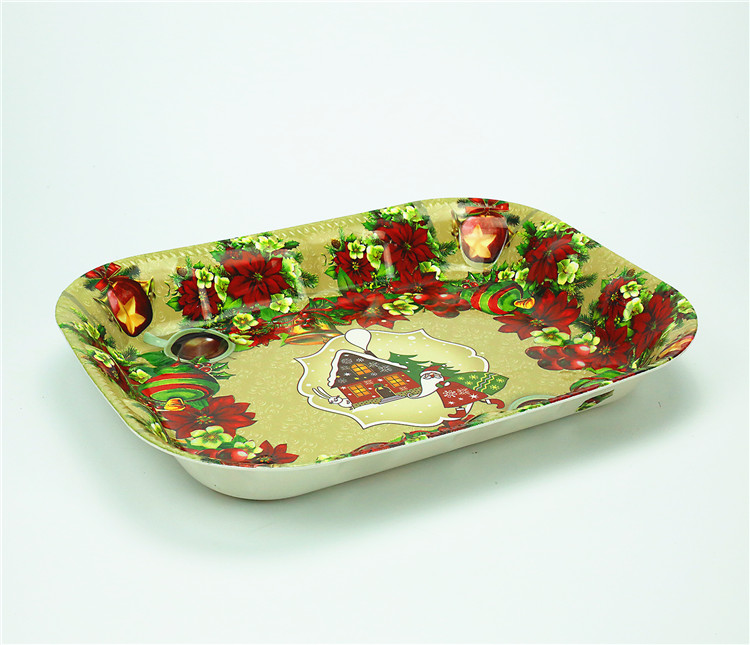Fashionable Wholesale Customized Printed Serving Tray/Plastic Christmas Plate