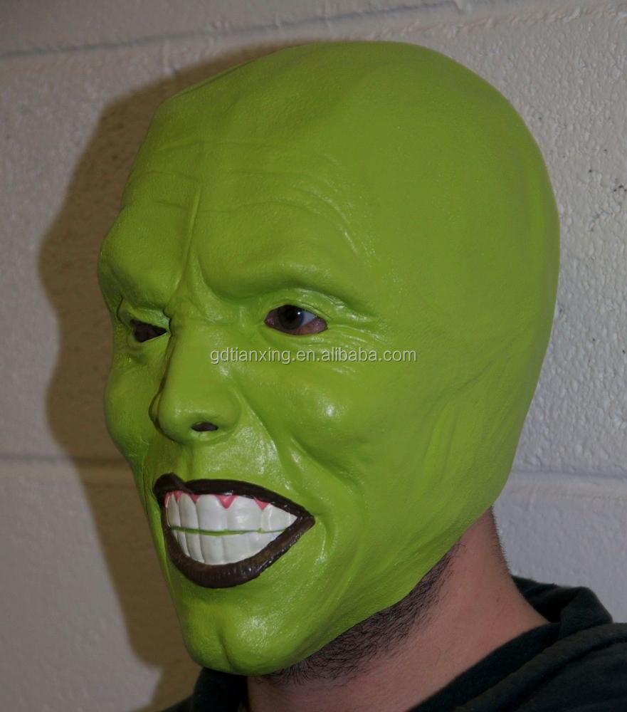 The Mask Green Latex Mask Jim Carrey Costume Fancy Dress Halloween ...