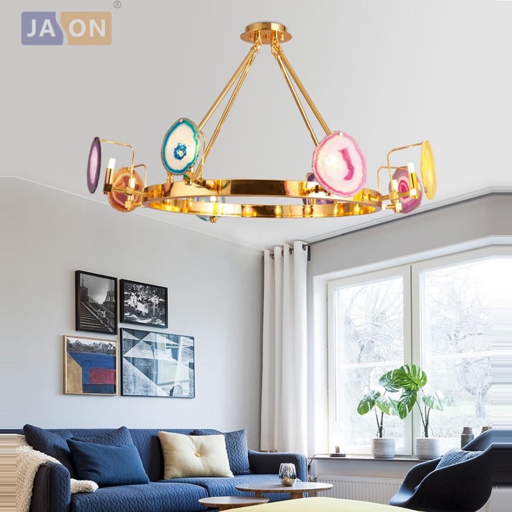 Led G9 Postmodern Iron Agate Round Rectangle Designer Lamp Light Pendant Lights For Foyer