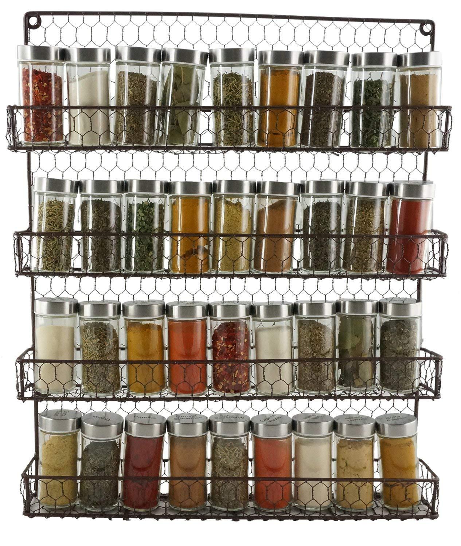 Buy Metal 4 Tier Chicken Wire Wall Mounted Storage Jar Rack