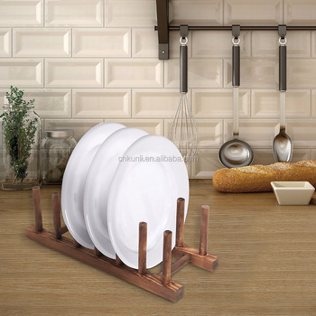 6 Slot Wood Dish Racks Kitchen