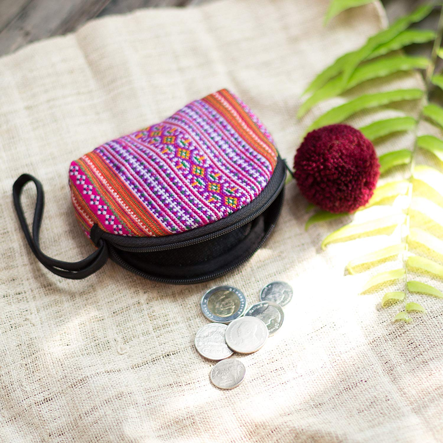Changnoi Vintage Hmong Hill Tribe Embroidered Coin Purse for Women, Fair Trade Handcrafted Coin Pouch with Pom Pom Zip Pull, Gift Purse