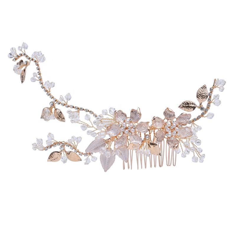 Fashion Hand wired Gold Blossom Hair Comb For Bride Rhinestone Wedding Headpiece Hair Accessories Women Jewelry
