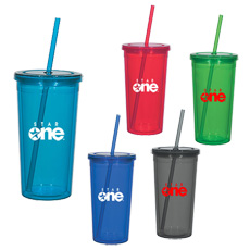 Wholesales advertising logo printing eco-friendly pp plastic double wall outdoor portable water drink juice cup with straw