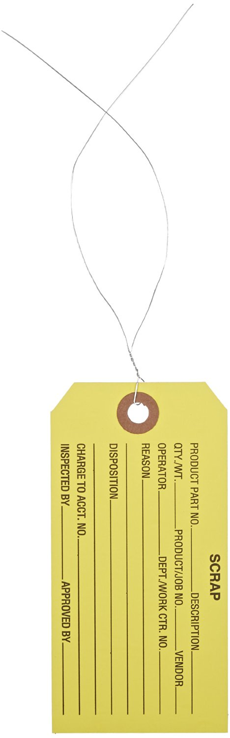 """Aviditi G20053 Pre Wired Inspection Tag, Legend""""SCRAP"""", 13 Point Cardstock, 4-3/4"""" Height x 2-3/8"""" Width, Black on Yellow (Case of 1000)"""